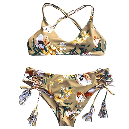 ddc5f94c0a6 Funic Women Two Pieces Swimwear Bandage Bikini Set Push-up Padded Bra  Bathing Suit Swimsuit