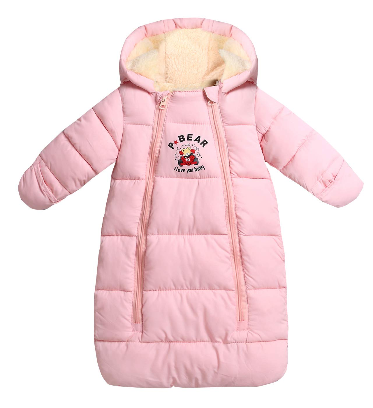 Aivtalk Baby Sleeping Bag Winter Snowsuit Warm Hooded Loose Fit One Piece Coat Outerwear Winter Wearable Blanket 6-18 Months Pink by Aivtalk