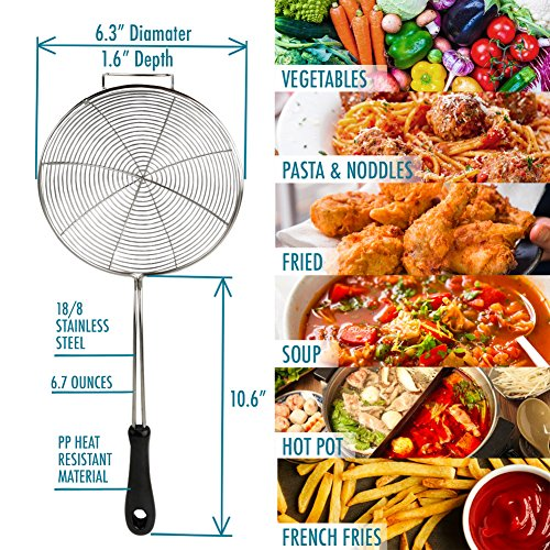 Asian Spider Kitchen Strainer 6.3'' Stainless Steel Cooking Spoon Wire Net Wok Colander Skimmer for Boiling Frying Drains Every Bits Spiral Mesh Food Strainer Heat Resistant PP Ladle Handle with Recipe by Kitchen Spider Strainer (Image #5)
