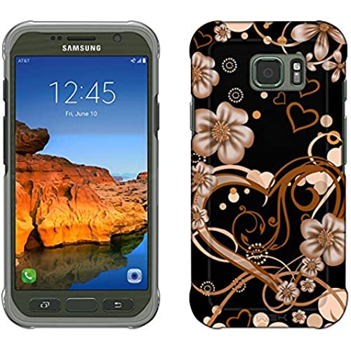 Samsung Galaxy S7 Active Case, Snap On Cover by Trek Sketch Hearts Orange on Black Slim Case Sales
