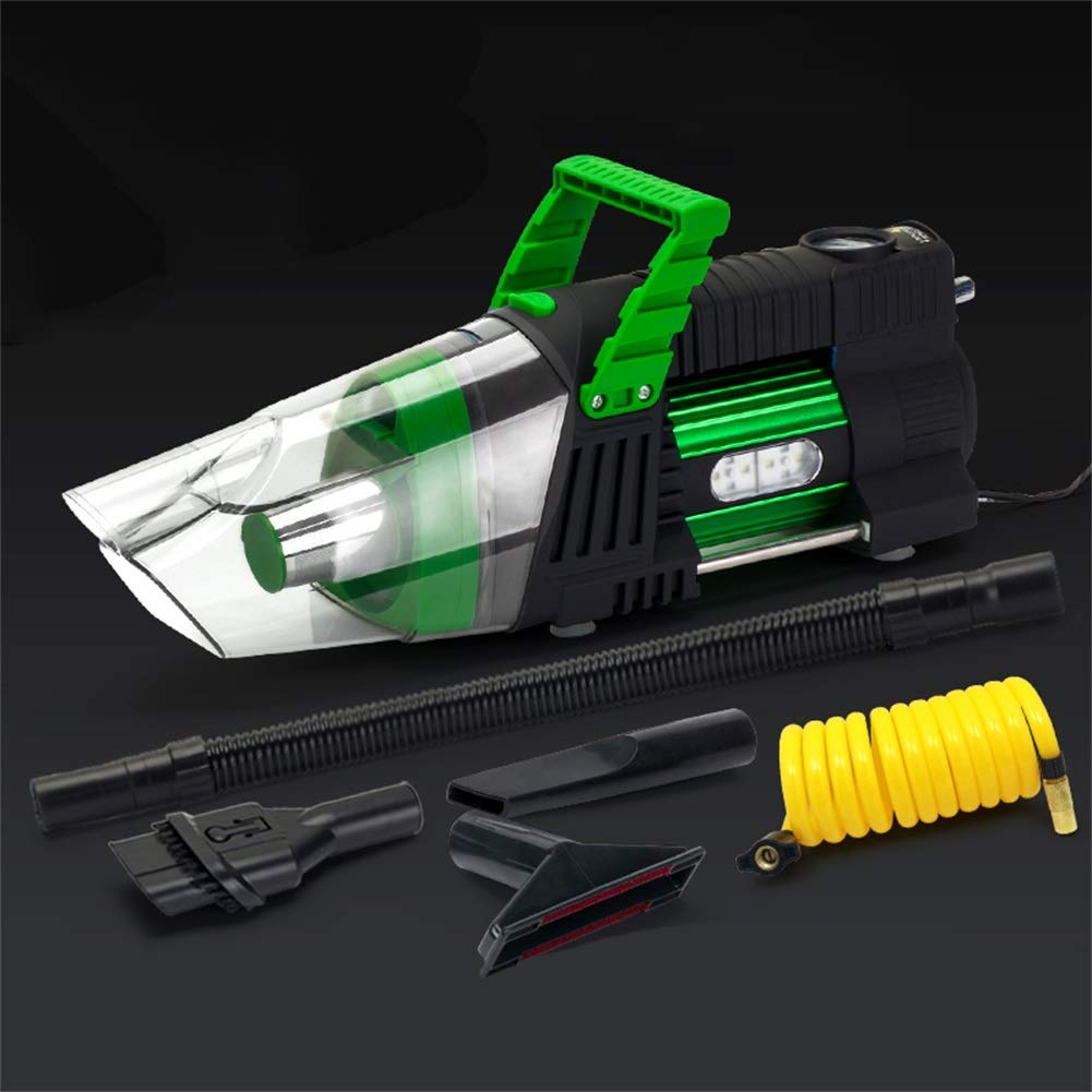 Car Vacuum Cleaner,High Pressure High-Power Portable Multifunction Inflator(Send Storage Bag) (Color : Green)