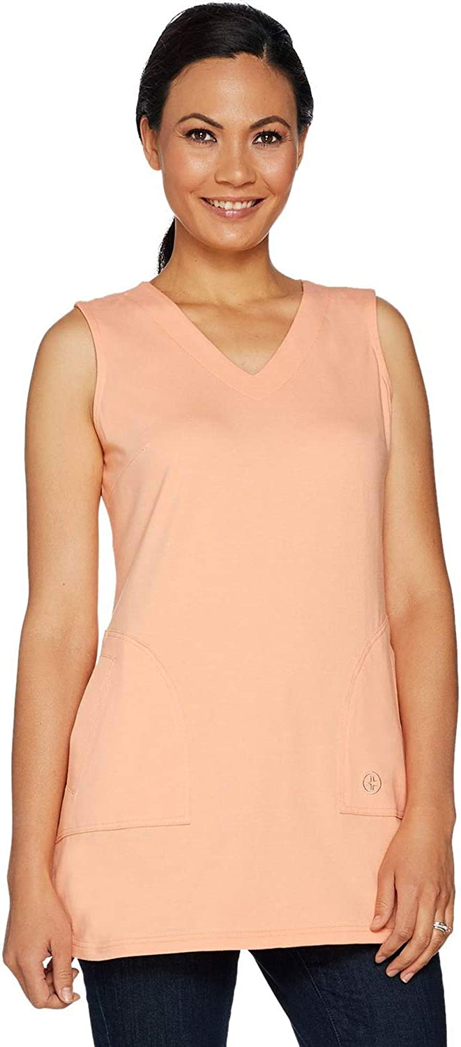 Linea by Louis Dell'Olio Womens Knit V-Neck Tunic Tank Medium Peach A290991