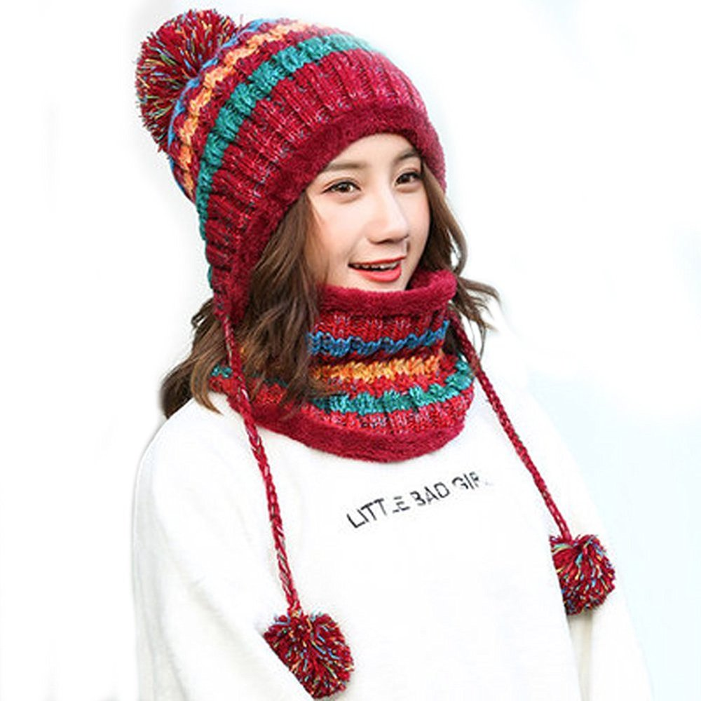 Fleece Lined Women Knit Beanie Scarf Set Girls Winter Ski Hat with Earflap Pompom MJSL0002A