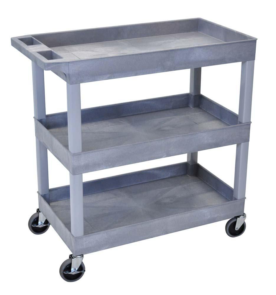 Luxor 32'' x 18'' Tub Storage Cart 3 Shelves – Gray