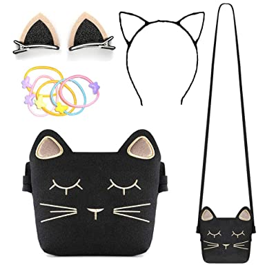 Little Girls Purse, Cute Cat Crossbody Bag with Cat Ear Hair Clips/Cat Headband and Elastic Hair Ties, 4 Pack: Toys & Games