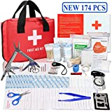 Monoki First Aid Survival Kit, New 174 Pcs Emergency...