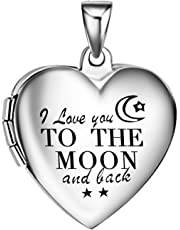 Eternally Loved 4 pcs I Love You to The Moon and Back Womens Locket Necklace Pendant Stainless Steel Photo Memorial Lockets- 30x30mm with 20 inch Chain