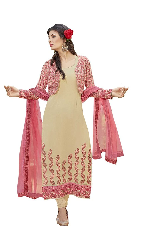 EthnicWear9 Simple Elegant Embroidered Jacket Style Beige Georgette Salwar Suit