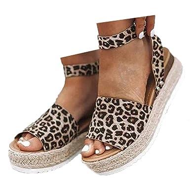 81e68ed5a04e2 Amazon.com: Veodhekai Womens Muffin Bottom Sandals Retro Leopard ...