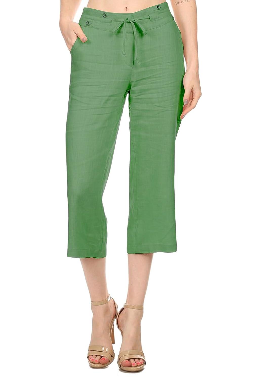 Basico Women's Linen Blend Capris Pants
