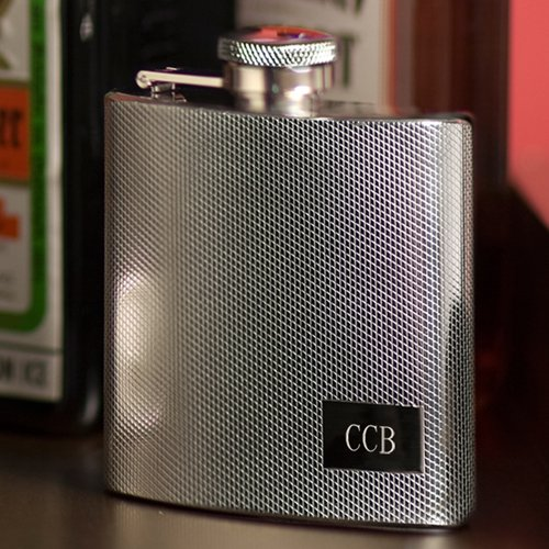 Engraved Stainless Steel Textured Flask - Monogrammed Flask - Engraved Flask - Custom (Engraved Textured Stainless Steel Flask)