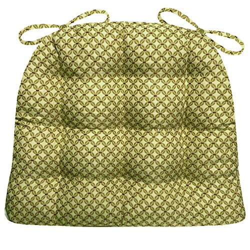 Barnett Products Dining Chair Pad with Ties - Eloquence Green Brocade - Reversible, Latex Foam Fill, Tufted Cushion, Box Edges (Green, Standard) - Brocade Cushion