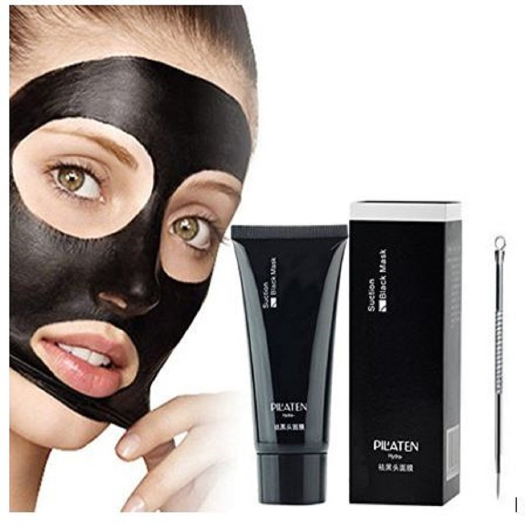 PILATEN Blackhead Remover Mask, Tearing style Deep Cleansing purifying peel off the Black head, acne treatment, black mud face mask 60g with Specially Designed Facial Scrubber