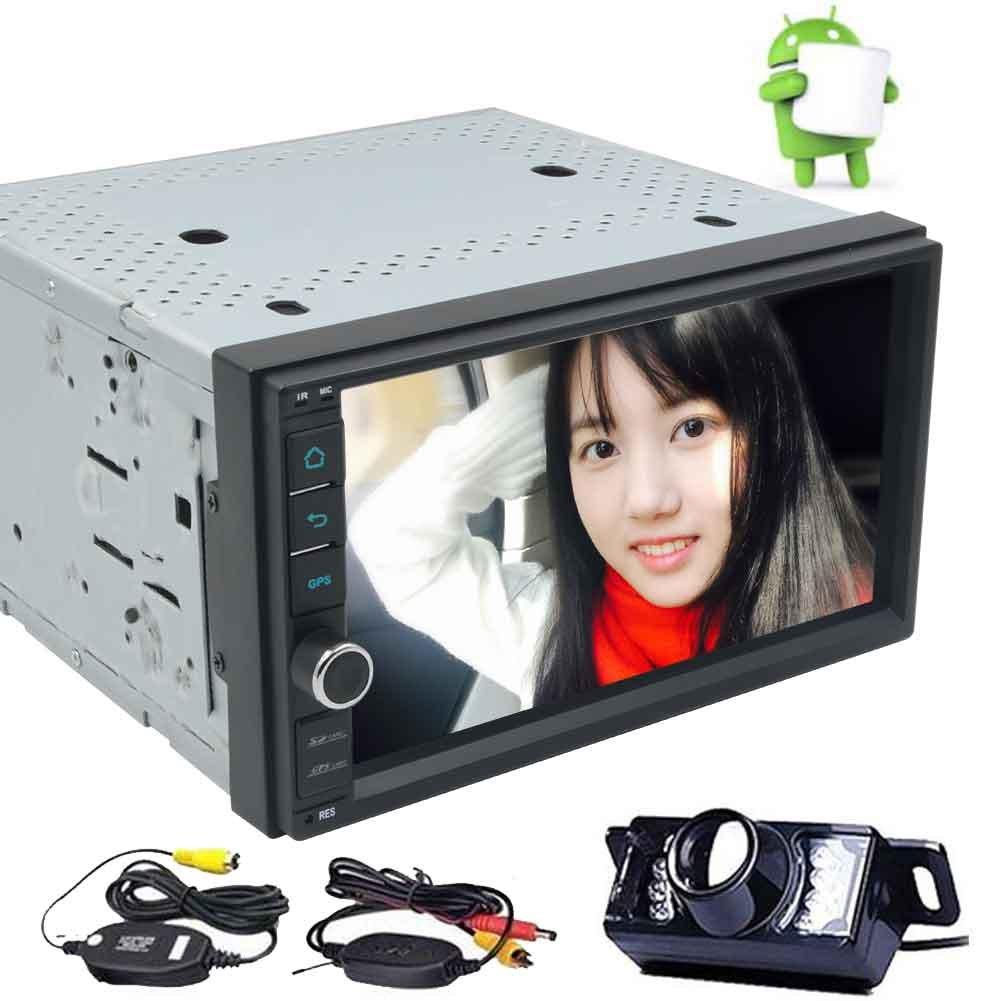 クアッドコア7とAndroidの6.0ダブル2ディンカーステレオ「」静電容量式タッチダッシュGPSナビゲーションマルチメディアシステムサポートのBluetooth /無線LAN / OBD2 +無料ワイヤレスバックアップカメラでカーラジオプレーヤーを画面 B077TKK1GD