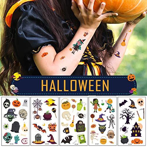 The Halloween Tree Tattoo (Oottati Small Cute 10 Sheets Halloween Pumpkin Theme Temporary Tattoo Stickers for)