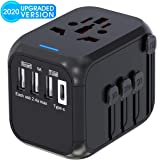 Universal Travel Adapter,International Power Adapter Worldwide All in One AC Outlet Power Plug Adapter 3 USB + 1 Type C Charging Ports for USA UK AUS European 200 Countries(Black)