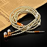 Fashionable Jewelry Pearl Necklace Earphones with Mic Beads 3.5mm In-ear Wired Headphone Headphone Connect to Ipod, Iphone, Droid, Blackberry, Mp3 Player and All 3.5mm Audio Devices (Gold)