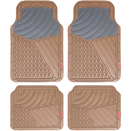 Coleman 4 Piece All-Weather Rubber Floor Mats - Premium Heavy Duty Full Set for Cars, Trucks, SUVs - Journeyman Class - Beige