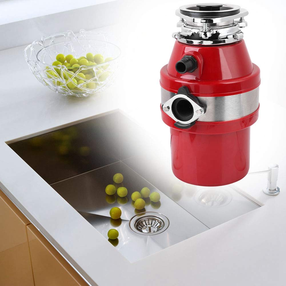 Food Waste Disposer 4000rmp 3/4HP 550W Household Kitchen Garbage Disposal Food Waste Disposer with Accessary Set Red US Plug