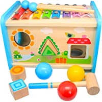 Xylophone Toys for Toddlers 1-3, Hammering Pounding Wooden Educational Toy Xylophone Shape Sorter, Pound and Tap Bench…
