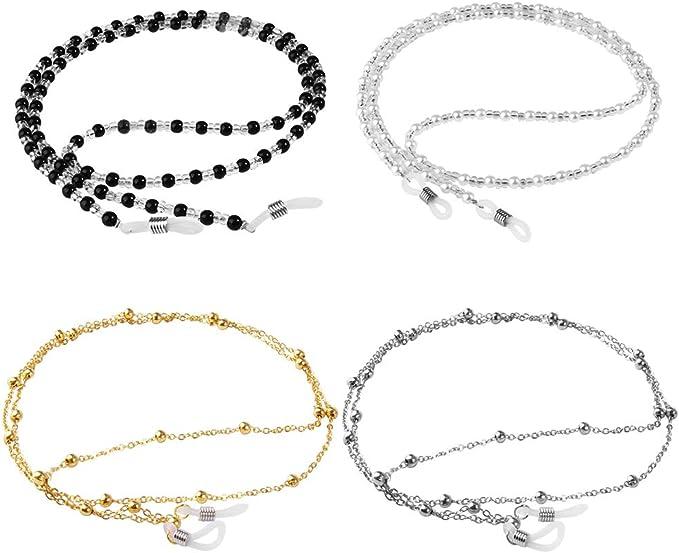 ONESING 4 Pcs Eyeglass Chains Eyeglasses String Eyewear Chain Eyeglass Chains Holder Glasses Cord Lanyard Gift for Women