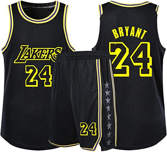 2-Piece Basketball Performance Tank top and Shorts Set New Fabric Embroidered Bryant #24 Lakers Black Basketball jerseys for man