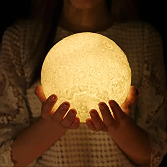 Night Light 3D Printed Moon Lamp, ProGreen Dimmable Touch Control  Rechargeable LED Lunar Lights Hanging