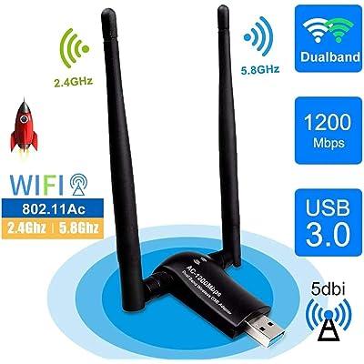 sumgott USB WiFi 1200Mpbs Antera Adaptador WiFi USB 3.0 Inalámbrico Dual Band Soporte de 5Ghz 867Mbps para PC con Windows XP/Vista / 7/8/10, MAX OSX