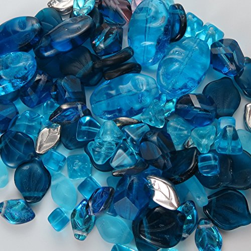 BEAD CONCEPTS™ ½lb Mix Czech Glass Beads in Assorted Sizes – for all your Jewelry making imaginations. - Aqua Marine Blue - Roman Glass Beads