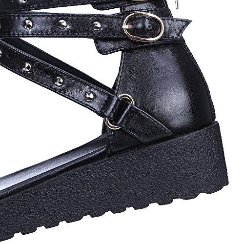 Amoonyfashion Mujeres Low-heels Soft Material Cremallera Sandalias De Punta Abierta Negro