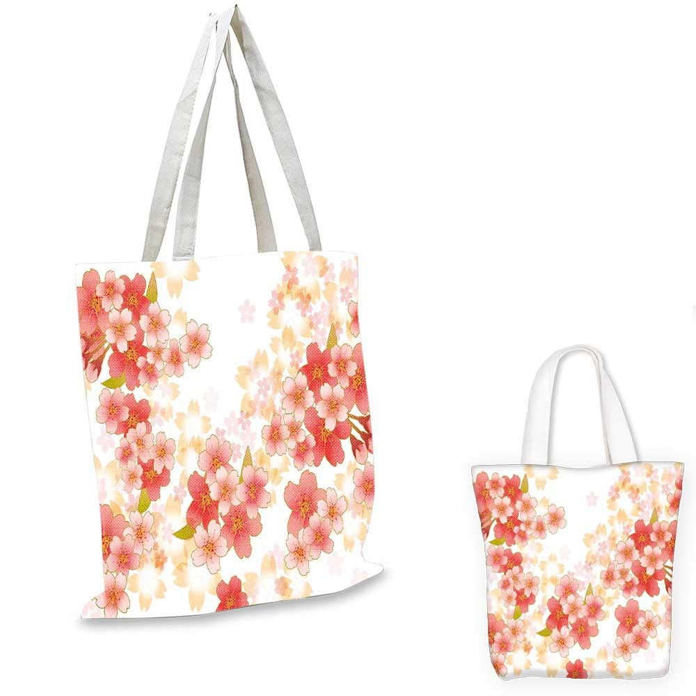 12x15-10 Floral canvas messenger bag Japanese Sakura Flowers Cherry Blossoms in Vibrant Colors Illustration canvas beach bag Coral Dark Coral Yellow