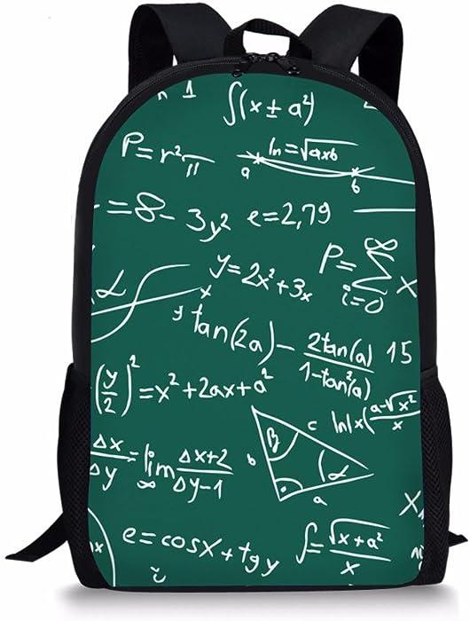 Amazon.com | Dellukee Girl School Bag Green Maths Print Cute Stylish ...