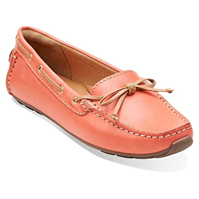 Clarks Dunbar Groove Womens Coral Leather Loafer 5.5-MEDIUM