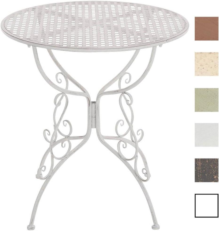 CLP Table de Jardin Ronde AMANDA en Fer Forgé -Table de Bistrot de Style  Nostalgique Hauteur 74 cm - Table de Terrasse Diamètre de 70 cm - Solide et  ...