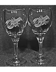 Lobster Laser Etched Wine Glass Set 2 TDW