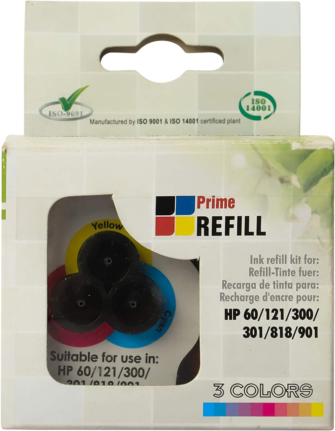 BIGGER Refill Ink Kit Compatible with HP Orginal 60 60XL 61 61XL 62 62XL 63 63XL Ink Cartridges, 1 Tri-Color Ink Refill Set with 6 Ink Bags (2 Yellow, 2 Cyan, 2 Magenta)