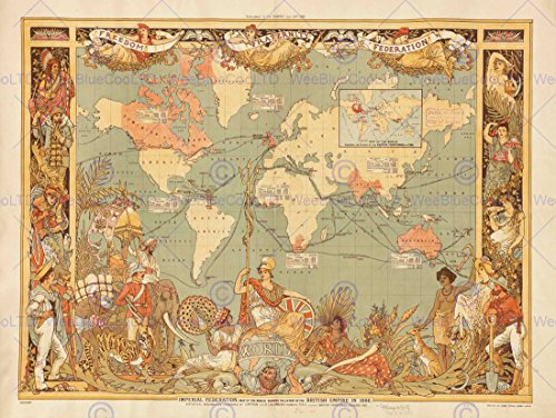MAPS BRITISH EMPIRE 1886 IMPERIAL ILLUSTRATED PEOPLE WORLD POSTER PRINT BB8103B (British Empire Map)