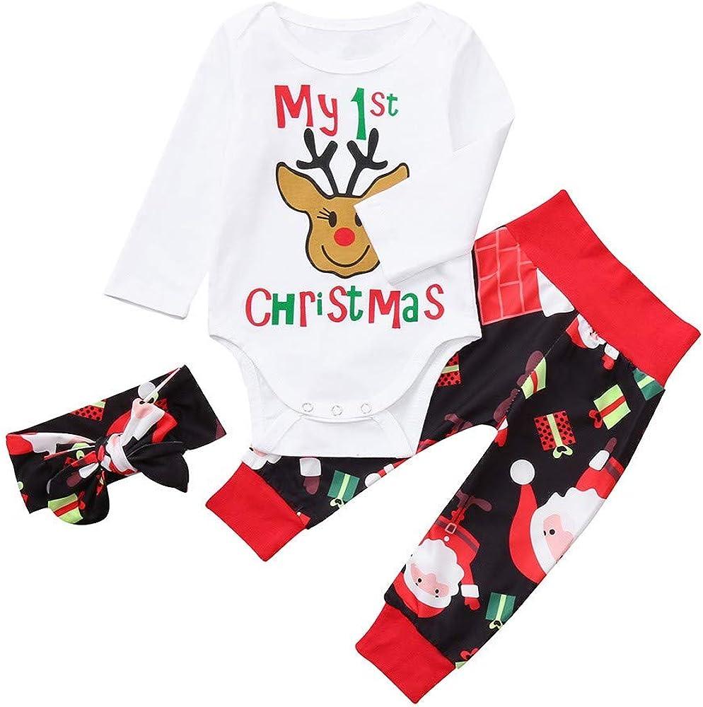 Disfraz Navidad Bebe ni/ña ni/ño MY 1st Christmas Monos de Manga Larga y Diadema