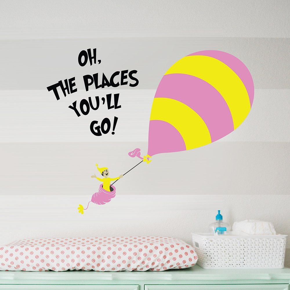 Amazon : Designer Playground Dr Seuss Hot Air Balloon Oh The Places  You'll Go Wall Decal ( 36w X 28h Inches ) K152 : Sports & Outdoors