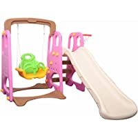 Kids Large Slide & Swing & Basketball Game Set Pink