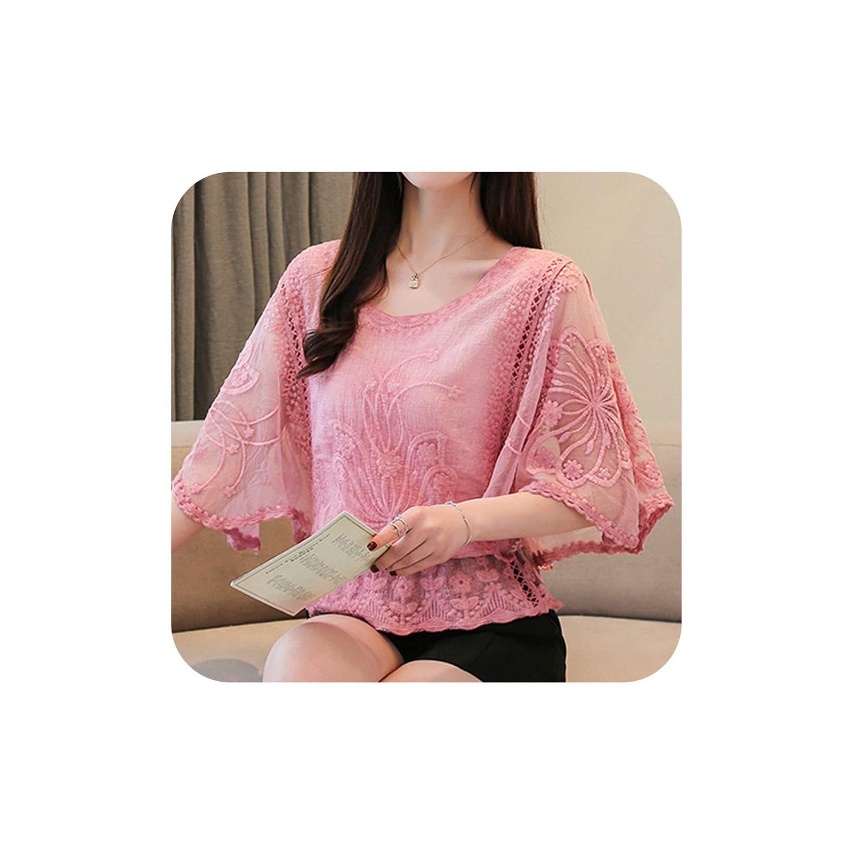 Fashion Woman Blouses Summer Chiffon Blouse Cotton Edge Lace Blouses Shirt Butterfly Flower Women Shirt Tops
