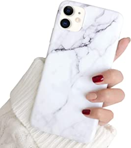"""Hapitek iPhone 11 Case, iPhone 11 Marble Case, Slim Soft Flexible TPU Marble Floral Pattern Protective Cover for Apple iPhone 11 6.1"""" (White)"""