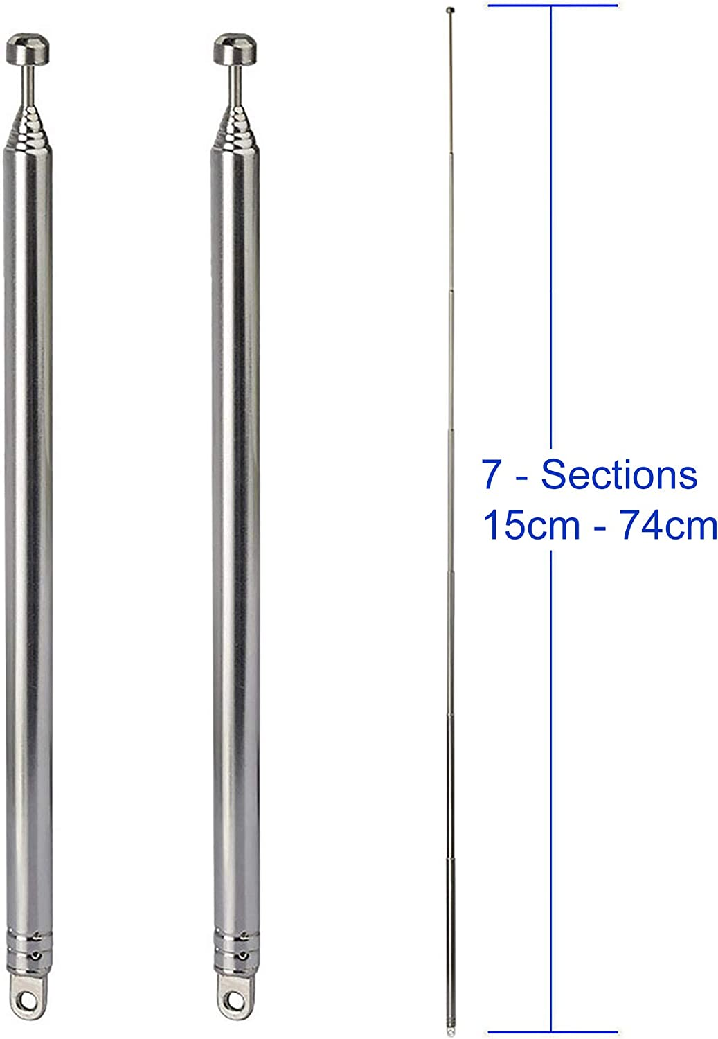Bingfu 7-Sections Telescopic 74cm FM Antenna Replacement (2-Pack) Compatible with Indoor Portable Radio Bluetooth Stereo Receiver AV Audio Vedio Home Theater Receiver Power Amplifier System Tuner