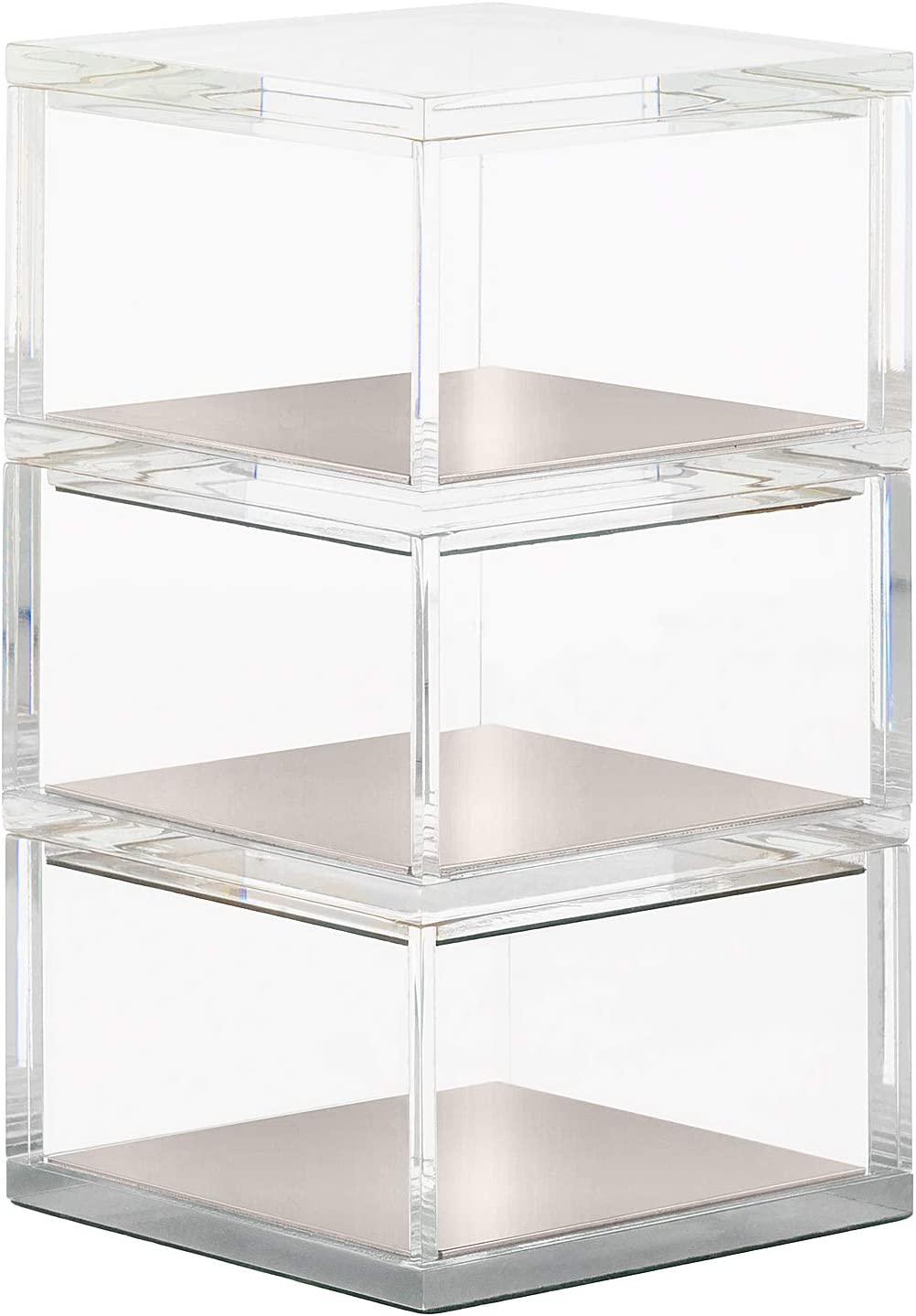 OfficeGoods Acrylic & Silver 3 Tier Organizer – Functional & Elegant Accessory Designed for Your Desk Office or Home – A Great Spot for All Your Little Bits (Silver/Square)