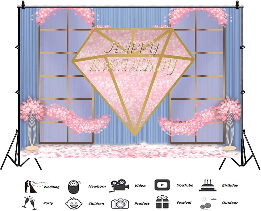 AOFOTO 5x3ft Women Pink Diamond Happy Birthday Background for Photography Beautiful Indoor Scene Adults Ladies Girls 16th 20th 30th 40th Bday Party Decoration Wallpaper Photo Studio Props Vinyl