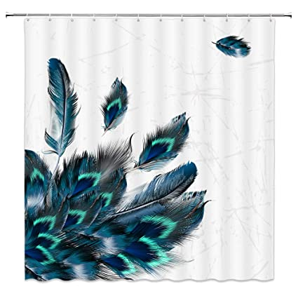 Feather Shower Curtains Colorful Blue Green Simple Fashion Bathroom Decor Waterproof Mildew Proof Polyester Fabric Home