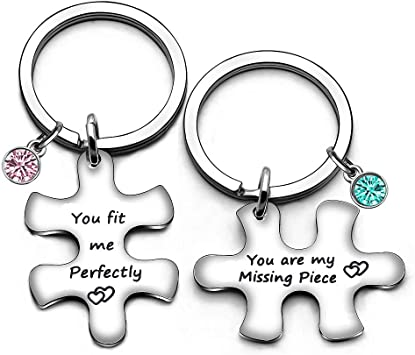 Lover Gifts Lot de 2 Porte-cl/és en Forme de Puzzle pour Couple