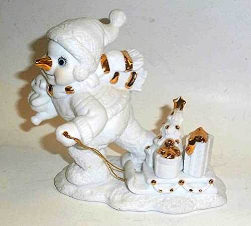 Grandeur Noel 5-Piece White Porcelain with Gold Snowman Family