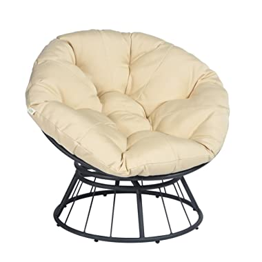 ART TO REAL 360 Swivel Papasan Chair Thickness Cushions, Indoor Outdoor Furniture Chair Deep Seating Moon Chair Glider, Solid Twill Fabric Khaki Cushion
