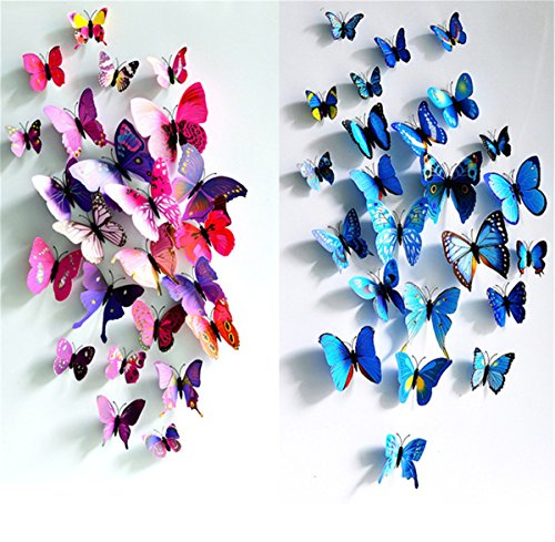 HAKDAY 24 PCS 3D Butterfly Wall Stickers Crafts Butterflies,12 PCS for Blue and 12 PCS For Purple